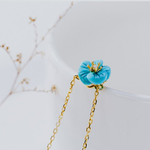 Gold Vermeil Turquoise Stone Flower Necklace